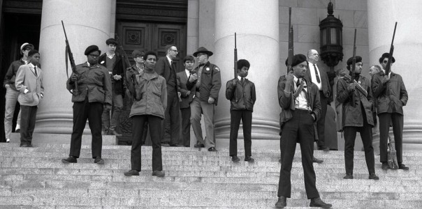 In 1967, the Black Panthers staged a demonstration at the California state capitol to defend their right to bear arms. (Digital Archives)