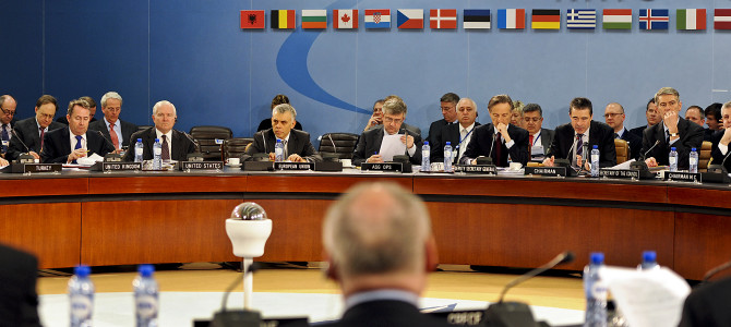 Defense Secretary Robert M. Gates attends the first session of the NATO Defense Minister's meetings at the NATO headquarters in Brussels, Belgium March 10, 2011.  Defense Department photo by Cherie Cullen (released)